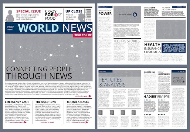 Artigos diferentes no jornal.