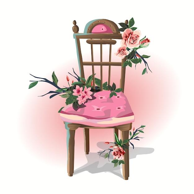 Artigos domésticos de ilustração bela cadeira arrastão decorada com flores.
