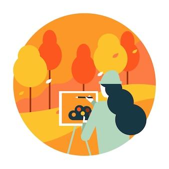Artista da mulher que pinta uma paisagem do outono.