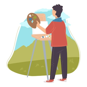 Artista desenhando paisagens naturais e belezas da natureza. homem segurando paleta e pincéis, usando cores para se expressar ao ar livre na tela. cavalete e pintura a óleo ou aquarela. vetor em estilo simples