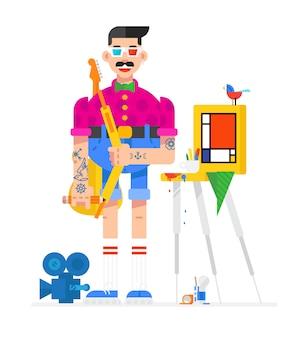 Artista designer em estilo cartoon. vetor.