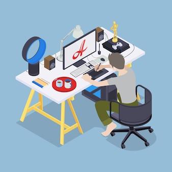 Artista digital no seu local de trabalho