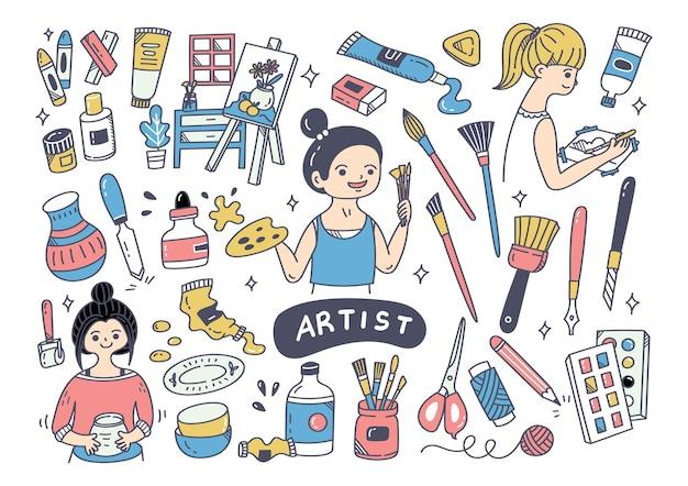 Artista e o elemento doodle de equipamentos