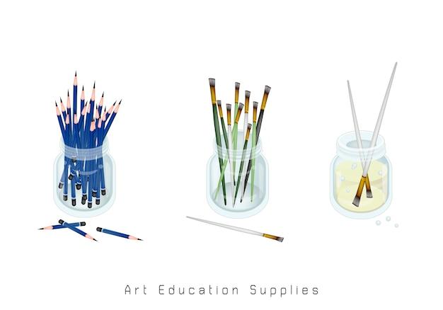 Artista escovas e lápis apontados em frasco