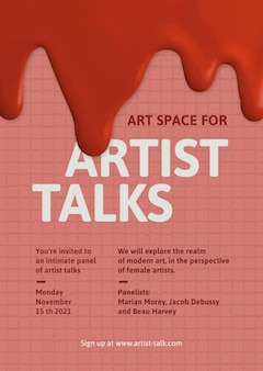 Artista fala modelo vetor tinta criativa pingando cartaz de anúncio