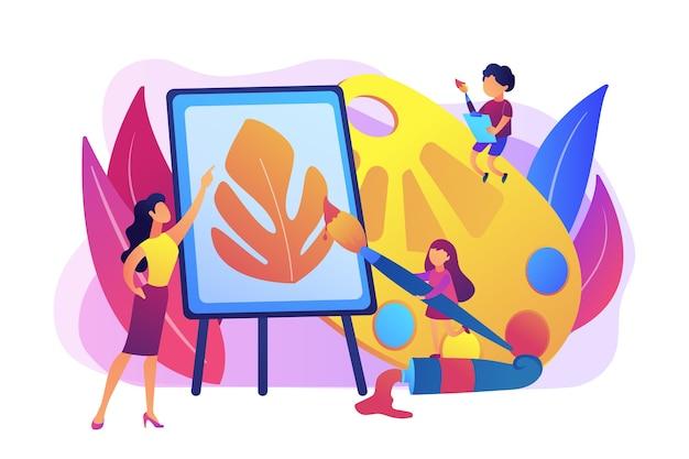 Artista feminina em cavalete ensinando crianças a pintar com paleta e pincéis, pessoas minúsculas. estúdio de arte, aulas de arte aberta, conceito de galeria de arte moderna.
