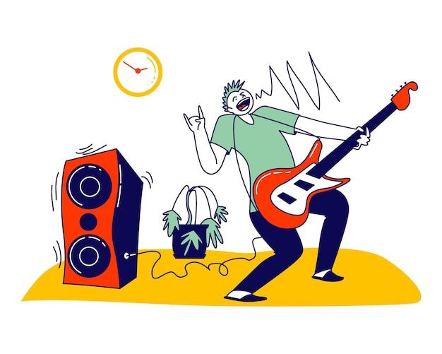 Artista masculino personagem tocando amplificador à noite no apartamento.