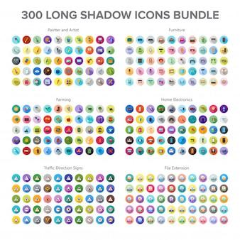 Artista, móveis, agricultura, eletrônica doméstica e sinais de trânsito 300 long shadow icons bundl