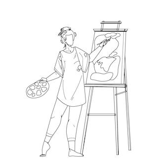 Artista mulher pintura imagens na tela linha preta desenho de lápis vector. desenho e criação de artista jovem em estúdio com pincel e tinta. ilustração artística de criatividade de personagem
