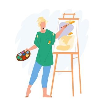 Artista mulher pintura retrato no vetor da lona. desenho e criação de artista jovem em estúdio com pincel e tinta. personagem artística pintor criatividade ilustração flat cartoon