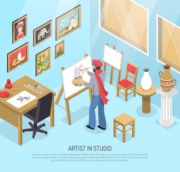 Artista na ilustração isométrica de estúdio