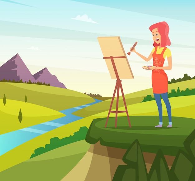 Artista na natureza fazendo imagens