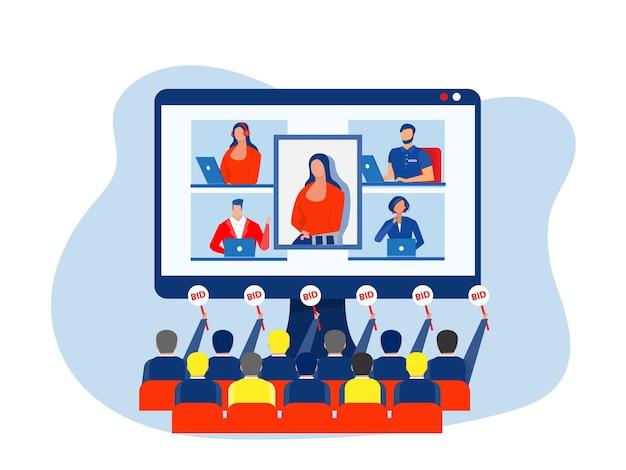 Artista oferece arte de perfil para licitação no laptop. ilustração em vetor conceito de arte digital nft