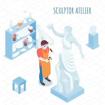 Artista plástica na composição isométrica de trabalho com escultor escultura estatura de pedra com ilustração de martelo e formão