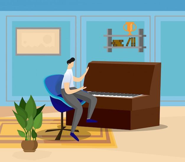Artista tocando piano de cauda em casa ou sala de aula.