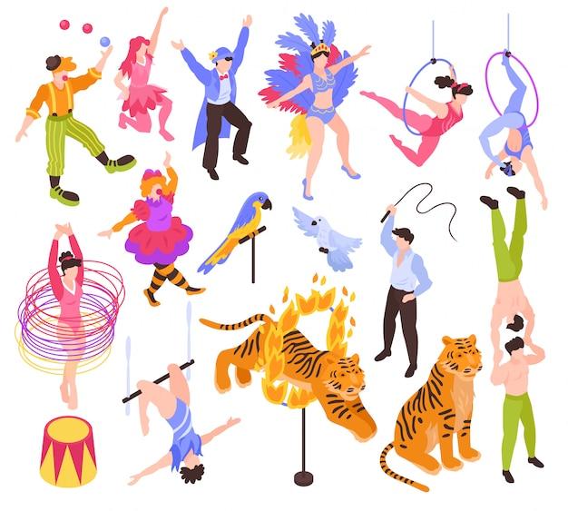Artistas de artistas de circo isométricos atores mostram conjunto com animais e personagens humanos isolados