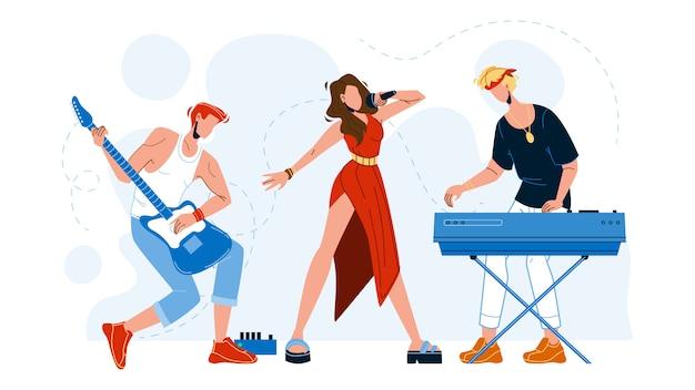 Artistas de bandas musicais apresentando música