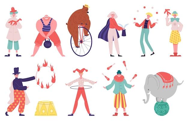 Artistas de circo. malabarista artista acrobata mágico executante palhaço homem forte e animais treinados
