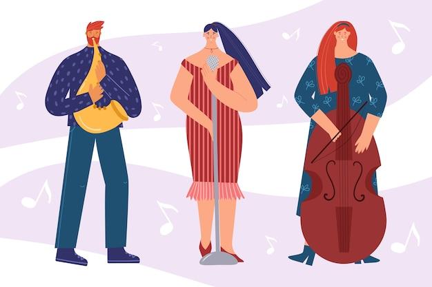 Artistas de jazz. de uma cantora, contrabaixista e saxofonista. um homem e uma mulher tocam instrumentos musicais.