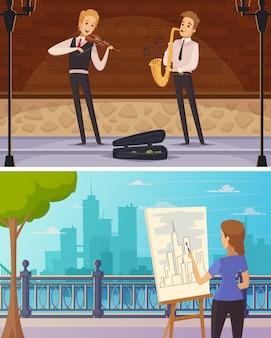 Artistas de rua dos desenhos animados banners horizontais