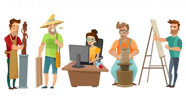 Artistas freelance creative people cartoon set