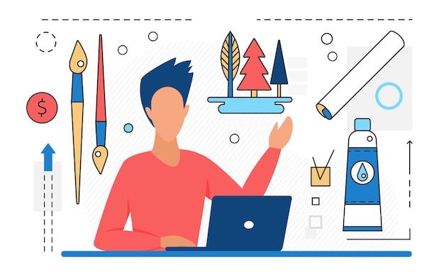 Artistas freelancers trabalham no personagem criativo do estúdio de arte com ícones de linha de ferramentas de arte