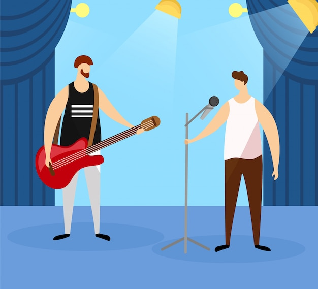 Artistas masculinos tocando guitarra e cantando.