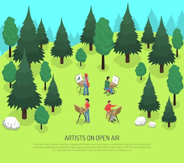 Artistas na ilustração isométrica ao ar livre