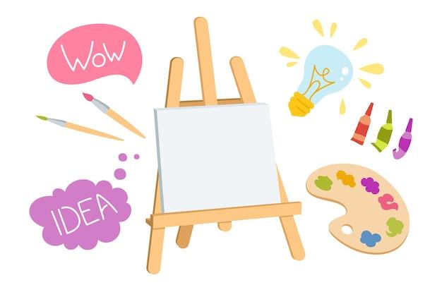 Artistas pintando suprimentos conjunto de desenhos animados e sinal de bolha de fala. mão desenhada paletas de aquarela pincéis paleta de madeira cavalete
