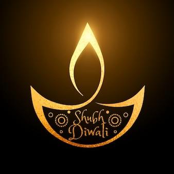 Artística festival de diwali fundo dourado diya