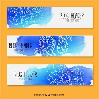 Artísticas cabeçalhos aguarela blog com detalhes florais desenhados à mão
