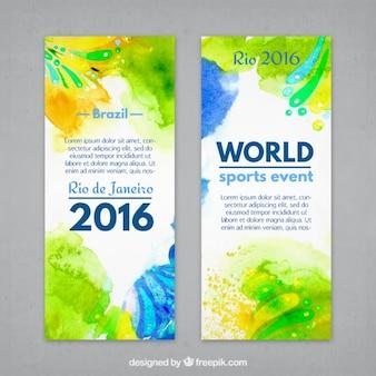 Artísticas esportes aguarela folhetos de brasil