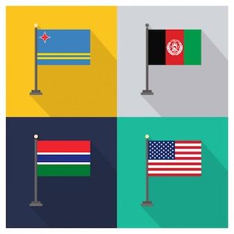Aruba afeganistão gâmbia e estados unidos da américa bandeiras