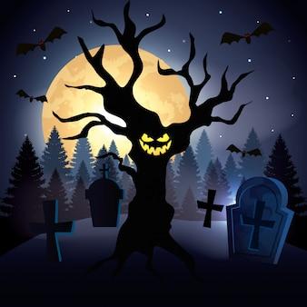 Árvore assombrada com cemitério na cena halloween