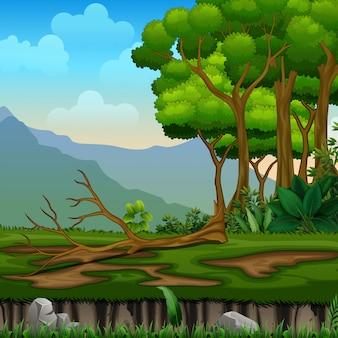 Árvore caída em uma paisagem de floresta