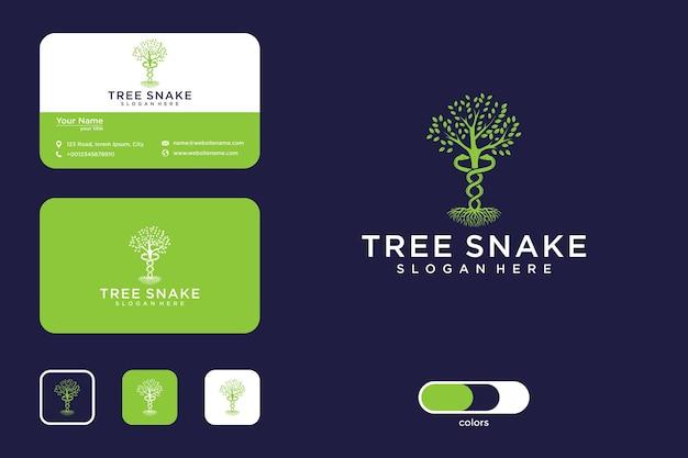 Árvore com duas cobras enroladas design de logotipo e cartão de visita