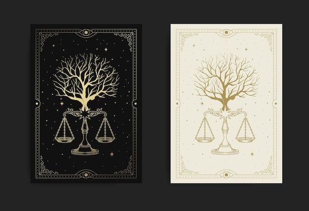 Árvore com escala de justiça ou símbolo de equilíbrio, também conhecido como sinal da constelação de libra