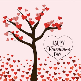 Árvore com flores de corações para celebração dos namorados