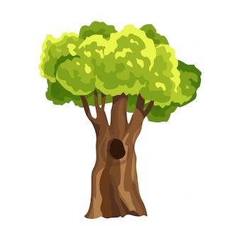 Árvore com folhagem verde. resumo árvore estilizada. folhagem em aquarela. ilustração natural