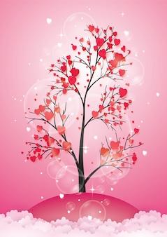 Árvore com folhas de papel e corações de suspensão.