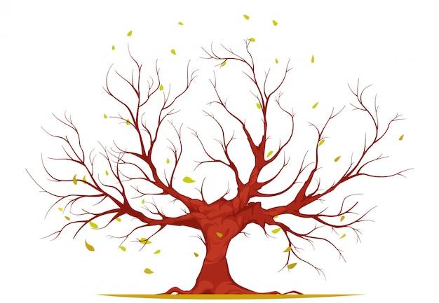 Árvore com galhos e raízes, folhas caindo, sobre fundo branco, ilustração