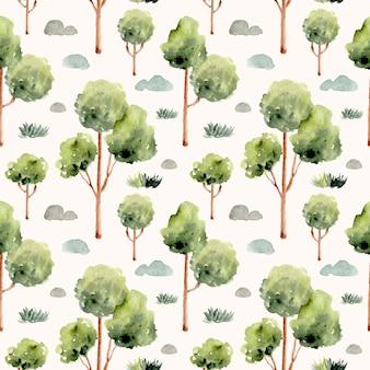 Árvore com grama e pedra em aquarela padrão sem emenda
