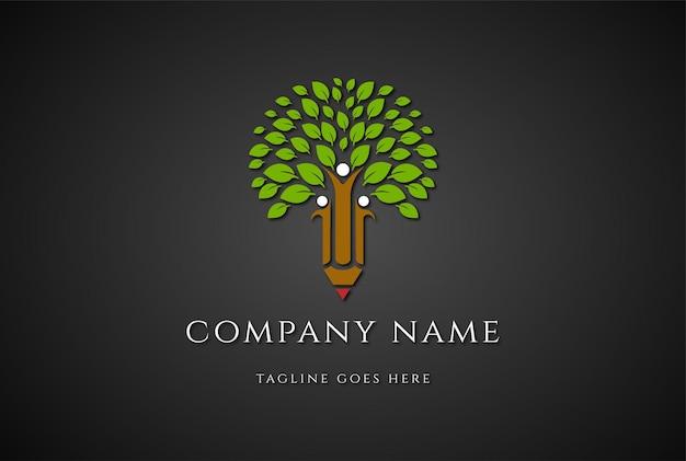 Árvore com lápis humano para vetor de design de logotipo para educação escolar