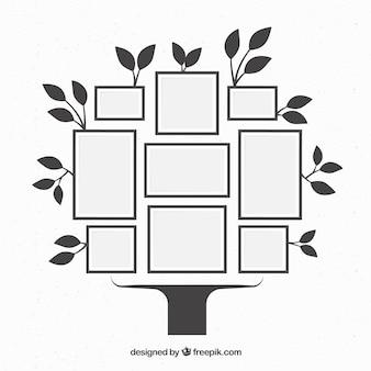 Árvore com molduras na parede em estilo simples