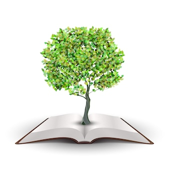 Árvore crescendo a partir de livro aberto. vetor isolado no branco