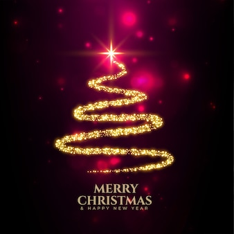 Árvore criativa de feliz natal feita com brilhos dourados