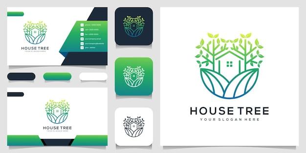 Árvore da casa com cartão de visita do modelo de logotipo de estilo de arte de linha