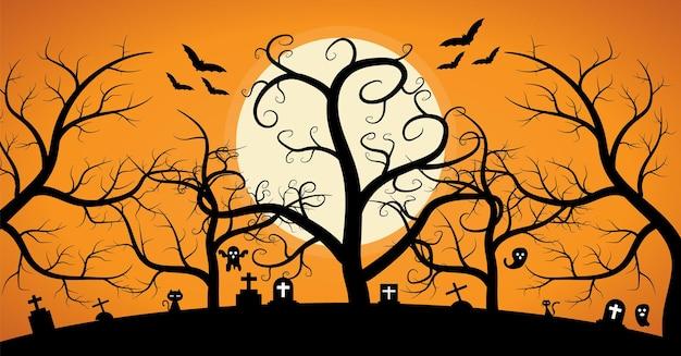 Árvore da morte sob a lua fundo de halloween da floresta assustador e cemitério
