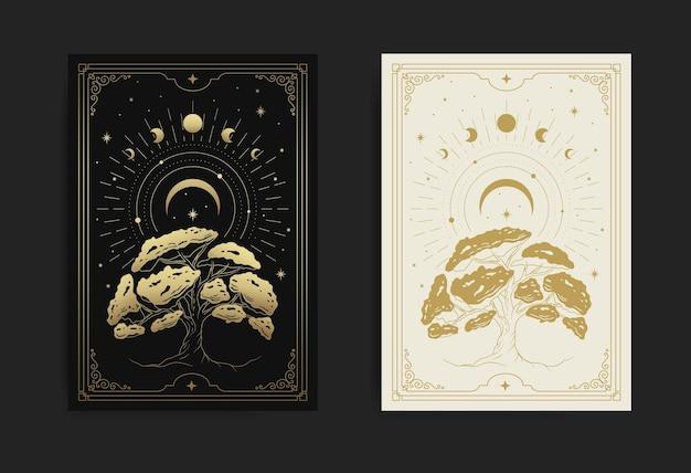 Árvore da vida com lua crescente, fases da lua, estrelas e decorada com geometria sagrada