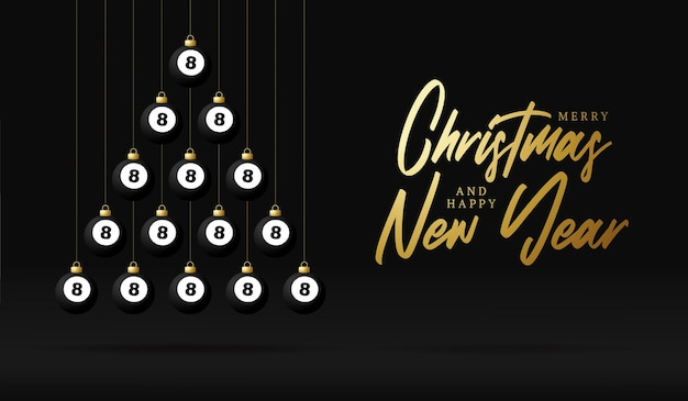 Árvore de bugigangas de cartão de natal e ano novo de bilhar. árvore de natal criativa feita por bola de bilhar em fundo preto para a celebração do natal e ano novo. cartão esportivo